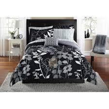 simple pcs black g jacquard fl comforter set bed together with a