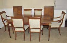 vine baker walnut regency style dining room table and 6 chairs full set pads