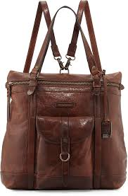 frye josie leather backpack tote bag dark brown