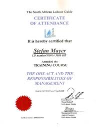 The South African Labour Guide Certificate Of Attendance