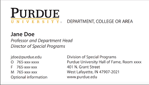 New Business Card Template Now Online Purdue University