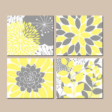 Floral Wall Art, YELLOW Gray Bedroom Pictures, CANVAS or Prints, Flower  Bathroom Artwork