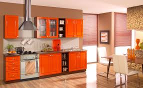 Orange And White Kitchen Stunning Orange Kitchen Cabinets With Mosaic Backsplash Furnished