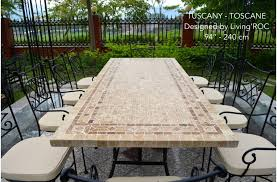 outdoor stone dining table top italian patio mosaic tuscany 78 94
