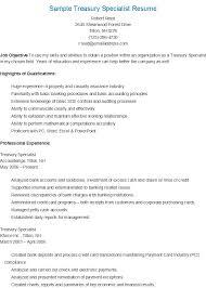 visual information specialist resume Sample Treasury Specialist Resume