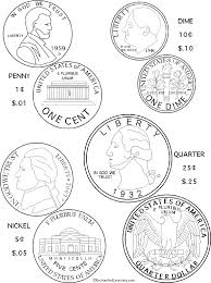 color4coins us coins coloring page printout enchanted learning on coloring pages of coins