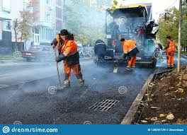 Road Builders Laid Asphalt Moscow 08 09 2018 Editorial