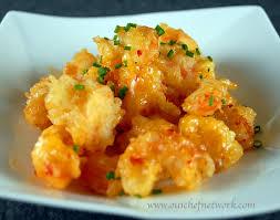 Asian crispy shrimp in cream sauce