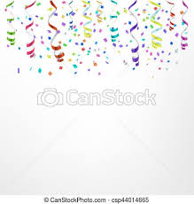 Celebration Background Template With Confetti And Colorful Ribbons Vector