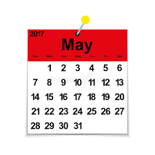 calendar for the month of may leaf calendar 2017 with the month of may stock vector illustration