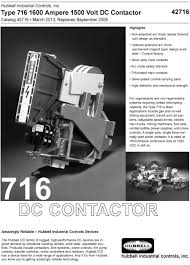 com products dc devices type 716 1600 ampere 1500 volt dc contactor