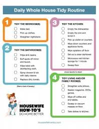 Daily Cleaning Routine Printable Housewife How Tos