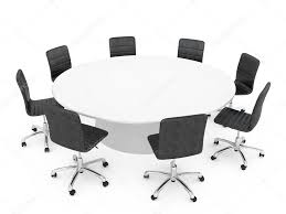 office chairs around a round table isolated on white background stock photo