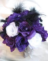 Wedding Bouquet Bridal Silk Flowers Purple White Silver Black