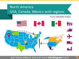 Us Map Editable Editable Maps Icons Usa Canada Mexico North America Continent Ppt