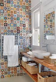 Funky Kitchen Multi Colored Wall Bathroom Tiles With Wooden Rack For The Home