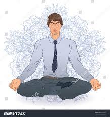 meditation businessman office. Office Meditation Concept. Young Handsome Businessman Man Practicing Yoga. Vector Illustration. A