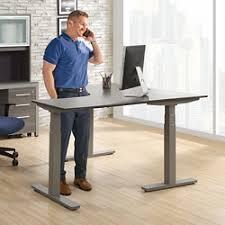 small corner office desk. At Work Adjustable Height L-Desk - 60\ Small Corner Office Desk R