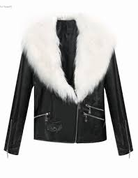 2016 las faux fur pu leather look fur collar womens biker jacket coat short outwear