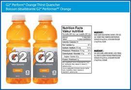gatorade g2 nutrition label