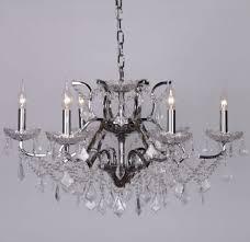 chrome 6 branch shallow cut glass chandelier