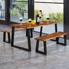 solid acacia wood patio bench dining