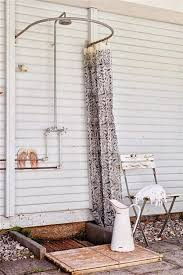 simple outdoor shower with curved curtain rod d intended for plans 0