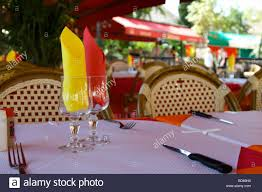 Table Setting In French A Table Setting In A French Bistro Stock Photo Royalty Free Image