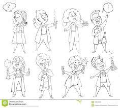 Scienziati Dei Bambini Messi Personaggi Dei Cartoni Animati Elementi