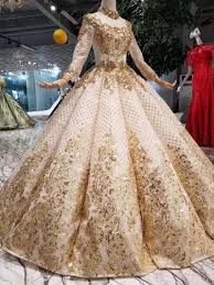 New Ball Gown Design Luxury Dubai Evening Dress High Neck Long Sleeve Ball Gown Curve Shape Women Occasion Swollen High Quality Prom Dress 2019 New Design Style Wholesale