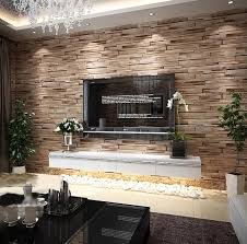 faux brick walls wallpaper living room