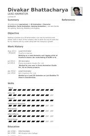 Lead Animator Resume samples