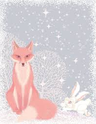 Pink Christmas Card Christmas Card With A Pink Fox And A Fluffy Hare In The Forest