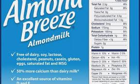 nutrition label blue diamond almond breeze milk unsweetened vanilla 13 ounce bo