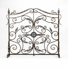 iron scroll fireplace screen ideas with single panel fireplace screen with doors