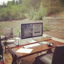 outdoor home office. it might be tough to setup your desktop outside but you can create a permanent outdoor workstation with some furniture home office