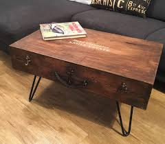 carpenters tool box coffee table with hairpin legs sold