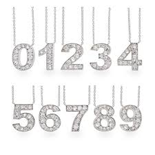 elegant number necklaces sterling silver lucky cz necklace