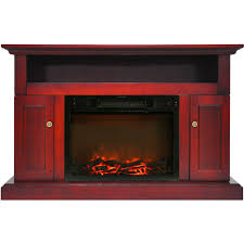 home home décor soro electric fireplace with 1500w log insert and 47 in entertainment stand in cherry cam5021 2chr
