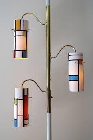 vintage pole lamp light mondrian inspired geometric mcm mid century modern