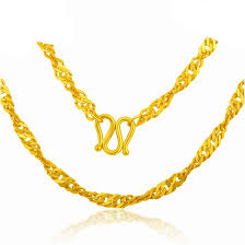 Necklace Chain Length Chart 24k Yellow Gold Necklace Chain Women Water Ripple Chain Necklace