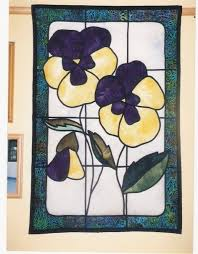 117 best STAINED GLASS QUILTS images on Pinterest | Glass, Carpets ... & Stained glass quilt - pansies Adamdwight.com
