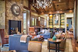 Featured Image of Contemporary Craftsman Living Room With Dark Stained Wood  Ceilings