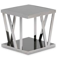 polished stainless steel square end table  end tables