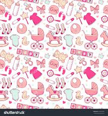 Baby Patterns Beauteous Bright Baby Girl Seamless Pattern Cute Stock Vector Royalty Free