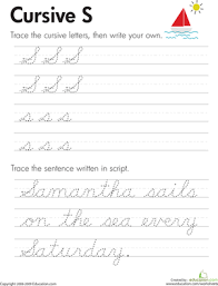 cursive handwriting third grade
