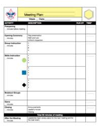 Cub Scout Meal Planning Chart Meeting Plans Ideas Cooking Troop Leader Resources