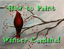 winter cardinal step by step acrylic painting on canvas for beginners you