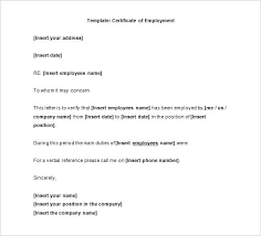 Employment Certificate Format Proof Of Employment Letter Format