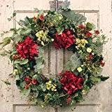 spring wreath for front doorAmazoncom Summer Garden Spring Door Wreath 22 in Home  Kitchen